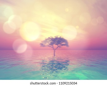 3D render of a landscape with tree in ocean against a sunset sky with vintage bokeh lights