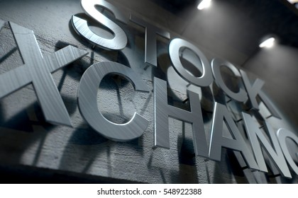 A 3D render of laser cut signage above the entrance to a modern generic stock exchange building composed of exposed concrete in the night time