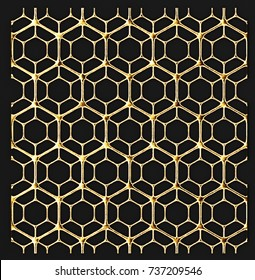 3D render lattice gold