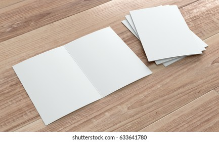 3d render of a leaflet mockup on wooden background. Perspective view.