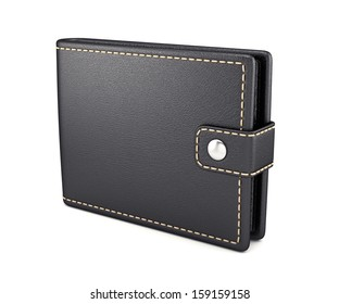3d render of leather wallet isolated on white background