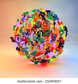 3d render with letters forming a ball, symbolizing writing, reading, learning, education