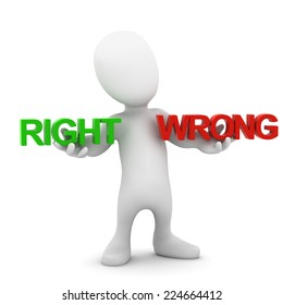 3d render of a little man comparing right and wrong