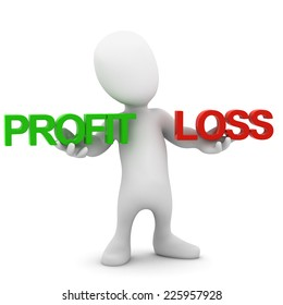 3d render of a little man holding the words Profit and Loss