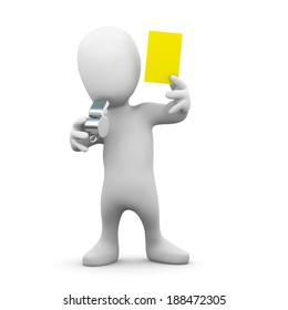 3d render of a little person blowing a whistle and showing a yellow card