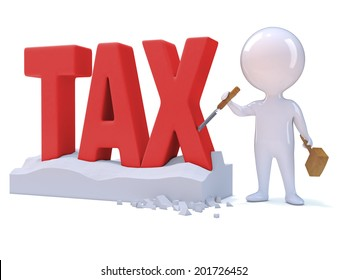 """3d render of a little person carving the word """"Tax"""""""