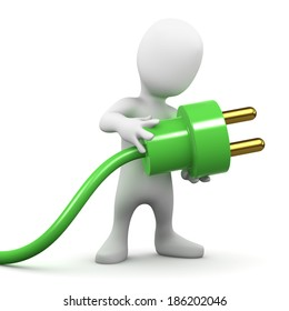 3d render of a little person holding a green plug