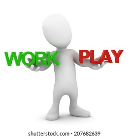 3d render of a little person holding the words Work and Play