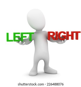 3d render of a little person holding the words Left and Right
