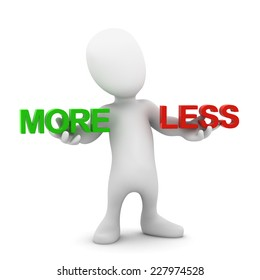 3d render of a little person holding the words More and Less