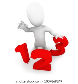 3d render of a little person standing with some numbers
