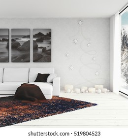 3D render - Living Room With Christmas Decoration