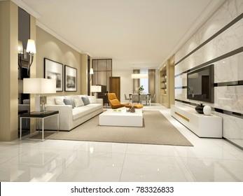 3d render of living room, hotel room.
