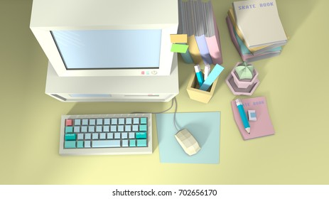 3D render Low polygon Working room Pastel color