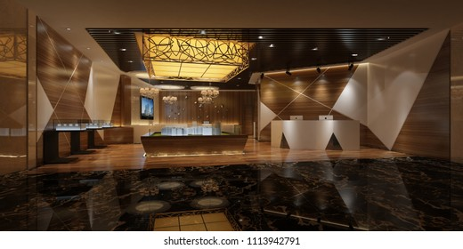 3d render luxury building reception and lobby