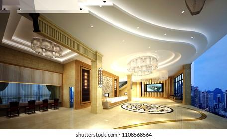 3d render luxury hotel entrance lobby