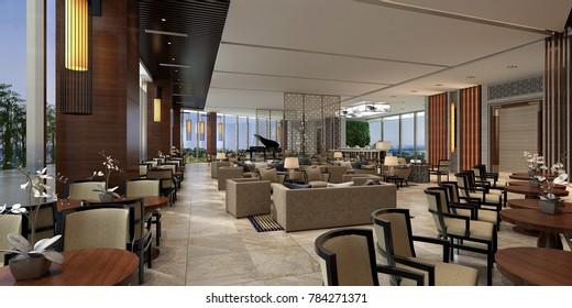 3d render of luxury hotel food court