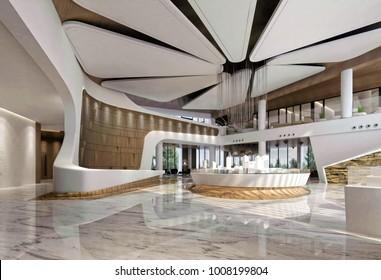 3d render of luxury hotel interior design