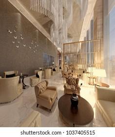 3d render of luxury hotel interior