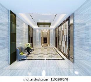3d render of luxury hotel lobby entrance