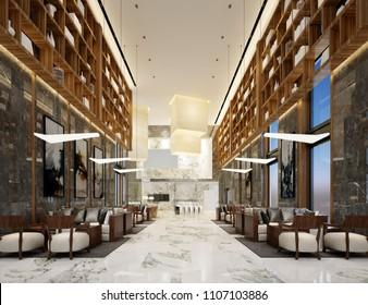 3d render luxury hotel lobby