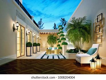 3d render of luxury hotel outdoor