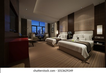 3d render of luxury hotel room with two beds