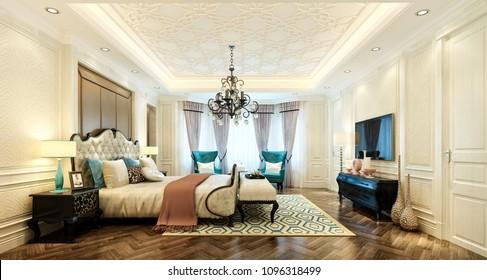 3d render luxury hotel room