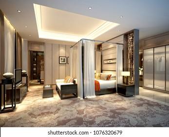 3D render of luxury hotel suite room