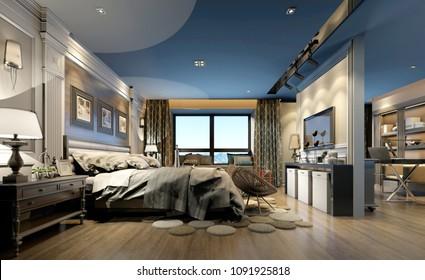 3d render of luxury hotel suite