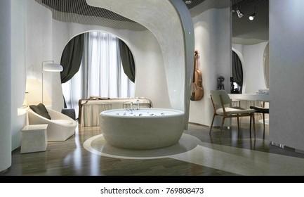 3D Render of Luxury Spa with bathtub