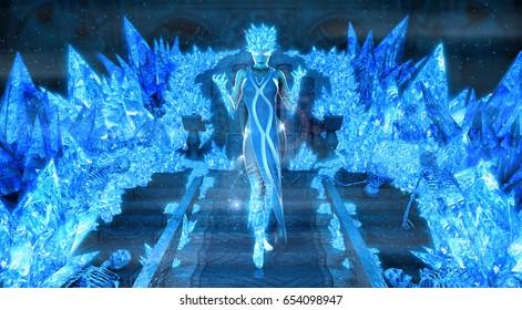 3d render of magical ice queen