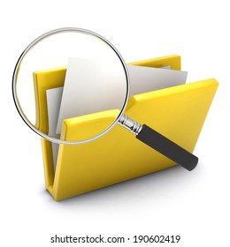 3d render of a magnifying glass looking at a yellow folder