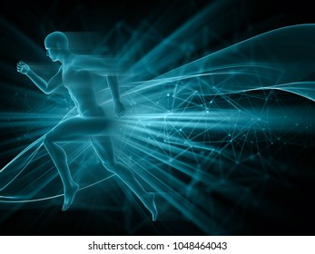 3D render of a male figure running on abstract techno background