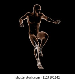 3D render of male medical figure jumping with leg bones highlighted