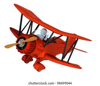 3D render of a man flying a vintage biplane