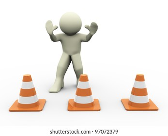 3d render of man in warning position standing behind traffic cones