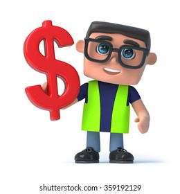 3d render of a man wearing health and safety reflective clothing and holding a US Dollar currency symbol.