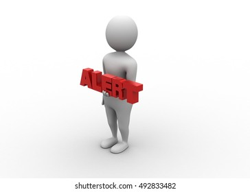 3d render of man with word alert
