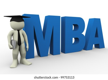 3d render of man with word mba. 3d illustration of human character