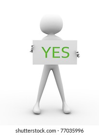 3d render of man with yes sign