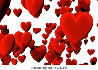 3D render of many red velvet hearts. High resolution, high quality background perfect for greeting cards.