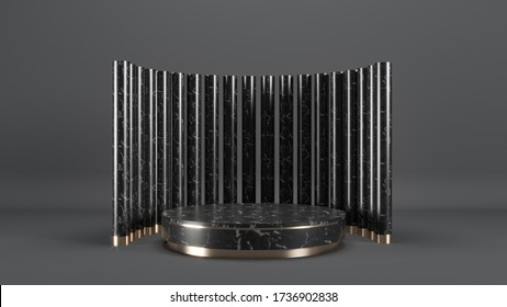 3d render of a marble and copper podium