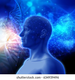 3D render of a medical background with DNA strands and male head