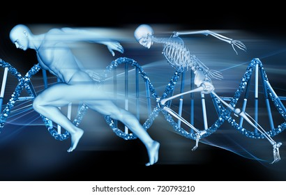 3D render of a medical background with male figure and skeleton sprinting on DNA strands
