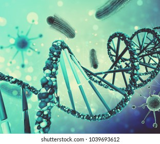 3D render of a medical background with virus cells and DNA strand