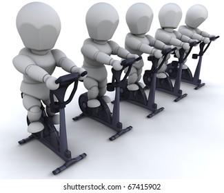 3D render of men on exercise bikes