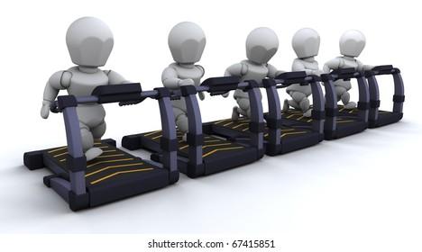 3D render of men on treadmills