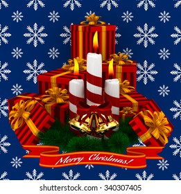 3D Render: Merry Christmas Burning candles with golden bells, christmass red gifts and sprigs of christmas tree isolated on blue snow background