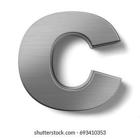 3d render. Metal alphabet symbol  C.